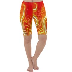 Fire Flames Abstract Background Cropped Leggings
