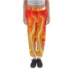 Fire Flames Abstract Background Women s Jogger Sweatpants