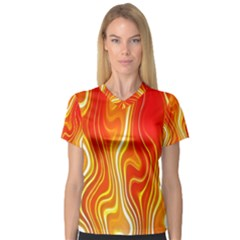 Fire Flames Abstract Background Women s V-Neck Sport Mesh Tee