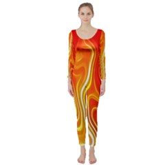 Fire Flames Abstract Background Long Sleeve Catsuit