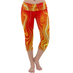 Fire Flames Abstract Background Capri Yoga Leggings
