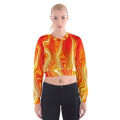 Fire Flames Abstract Background Women s Cropped Sweatshirt