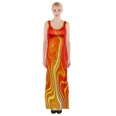 Fire Flames Abstract Background Maxi Thigh Split Dress