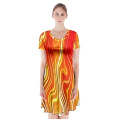 Fire Flames Abstract Background Short Sleeve V Neck Flare Dress