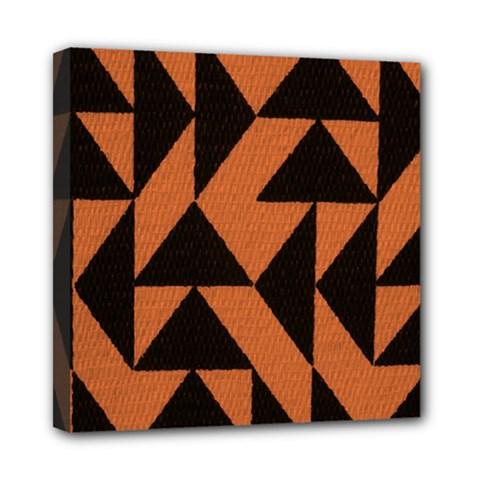Brown Triangles Background Mini Canvas 8  X 8