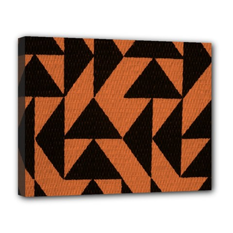 Brown Triangles Background Canvas 14  X 11