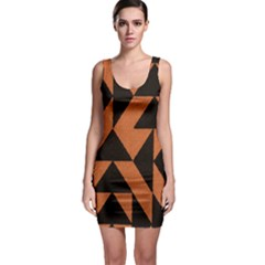 Brown Triangles Background Sleeveless Bodycon Dress