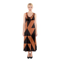 Brown Triangles Background Sleeveless Maxi Dress