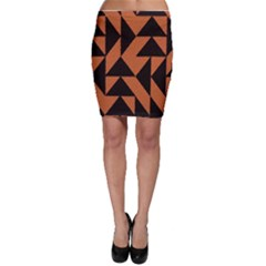 Brown Triangles Background Bodycon Skirt
