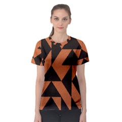 Brown Triangles Background Women s Sport Mesh Tee