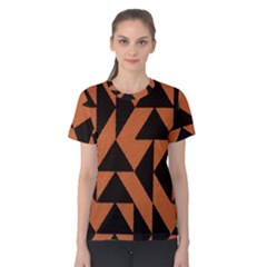 Brown Triangles Background Women s Cotton Tee