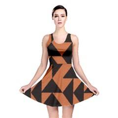 Brown Triangles Background Reversible Skater Dress