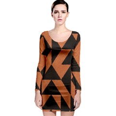 Brown Triangles Background Long Sleeve Bodycon Dress