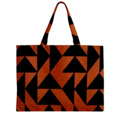 Brown Triangles Background Zipper Mini Tote Bag