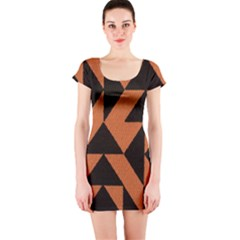 Brown Triangles Background Short Sleeve Bodycon Dress
