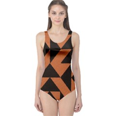 Brown Triangles Background One Piece Swimsuit