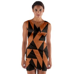 Brown Triangles Background Wrap Front Bodycon Dress