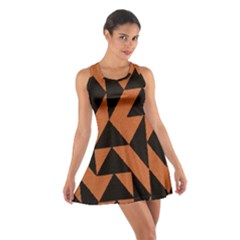 Brown Triangles Background Cotton Racerback Dress