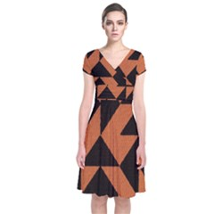 Brown Triangles Background Short Sleeve Front Wrap Dress