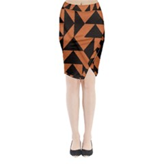 Brown Triangles Background Midi Wrap Pencil Skirt