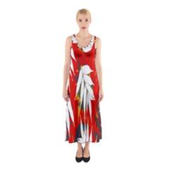 Leaves Pattern Background Pattern Sleeveless Maxi Dress