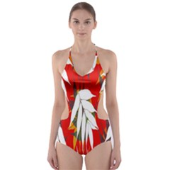 Leaves Pattern Background Pattern Cut Out One Piece Swimsuit