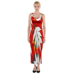Leaves Pattern Background Pattern Fitted Maxi Dress