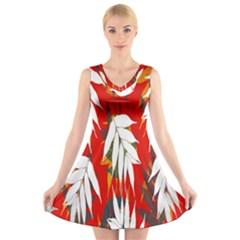 Leaves Pattern Background Pattern V Neck Sleeveless Skater Dress