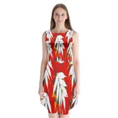 Leaves Pattern Background Pattern Sleeveless Chiffon Dress
