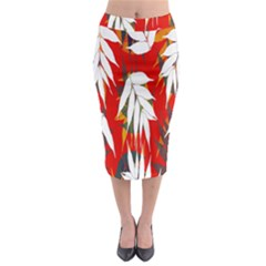 Leaves Pattern Background Pattern Midi Pencil Skirt
