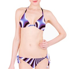 Fractal Background With Curves Created From Checkboard Bikini Set