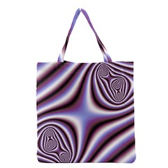 Fractal Background With Curves Created From Checkboard Grocery Tote Bag