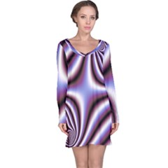 Fractal Background With Curves Created From Checkboard Long Sleeve Nightdress