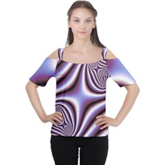 Fractal Background With Curves Created From Checkboard Women s Cutout Shoulder Tee