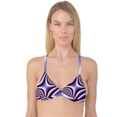 Fractal Background With Curves Created From Checkboard Reversible Tri Bikini Top