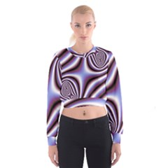 Fractal Background With Curves Created From Checkboard Women s Cropped Sweatshirt