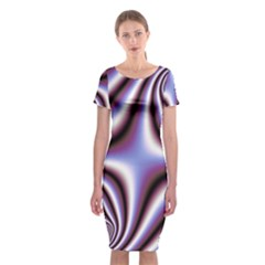 Fractal Background With Curves Created From Checkboard Classic Short Sleeve Midi Dress