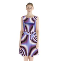 Fractal Background With Curves Created From Checkboard Sleeveless Chiffon Waist Tie Dress