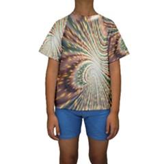 Vortex Glow Abstract Background Kids  Short Sleeve Swimwear