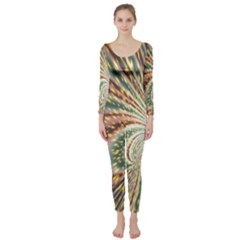 Vortex Glow Abstract Background Long Sleeve Catsuit