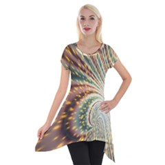 Vortex Glow Abstract Background Short Sleeve Side Drop Tunic