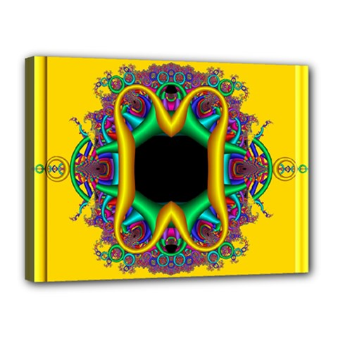 Fractal Rings In 3d Glass Frame Canvas 16  X 12