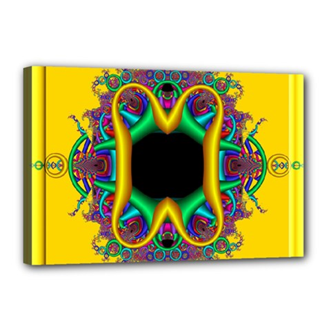 Fractal Rings In 3d Glass Frame Canvas 18  X 12