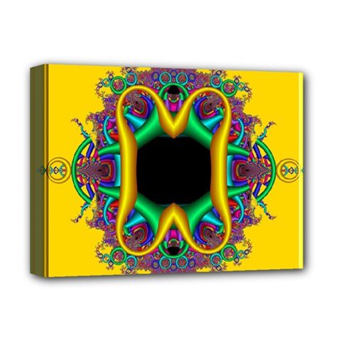 Fractal Rings In 3d Glass Frame Deluxe Canvas 16  x 12
