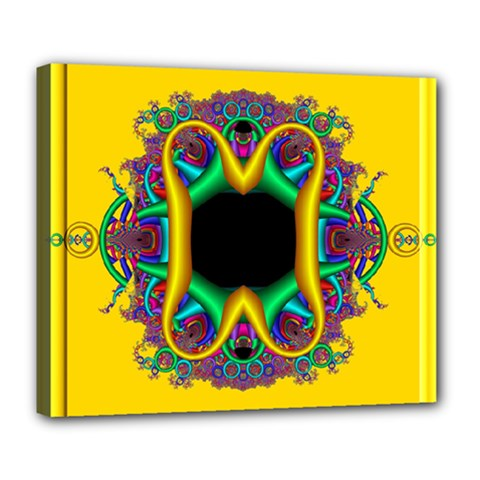 Fractal Rings In 3d Glass Frame Deluxe Canvas 24  X 20