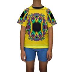 Fractal Rings In 3d Glass Frame Kids  Short Sleeve Swimwear