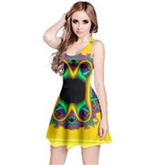 Fractal Rings In 3d Glass Frame Reversible Sleeveless Dress
