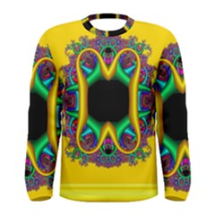 Fractal Rings In 3d Glass Frame Men s Long Sleeve Tee