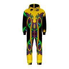 Fractal Rings In 3d Glass Frame Hooded Jumpsuit (Kids)