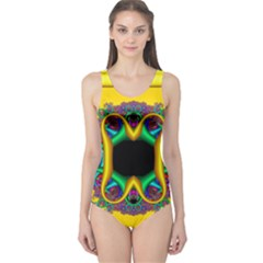 Fractal Rings In 3d Glass Frame One Piece Swimsuit